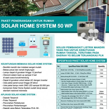 PAKET PLR SOLAR HOME SYSTEM 50 WP Surya Panel Indonesia