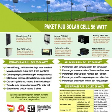 paket PJU solar cell 56 watt LED Surya Panel Indonesia