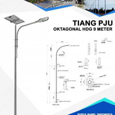 Tiang PJU Oktagonal Hot Deep Galvanis 9 Meter Surya Panel Indonesia