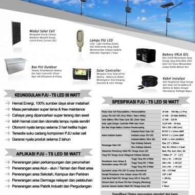paket PJU tenaga surya 50 watt LED Surya Panel Indonesia