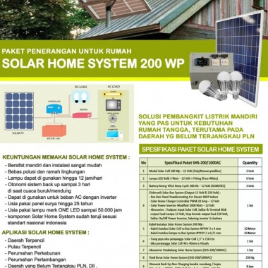 PAKET SOLAR HOME SYSTEM 200 WP Surya Panel Indonesia