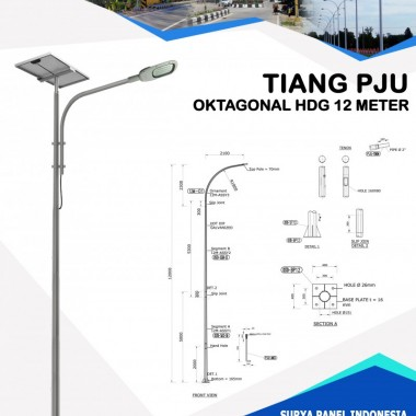 Tiang PJU Oktagonal Hot Deep Galvanis 12 Meter Surya Panel Indonesia
