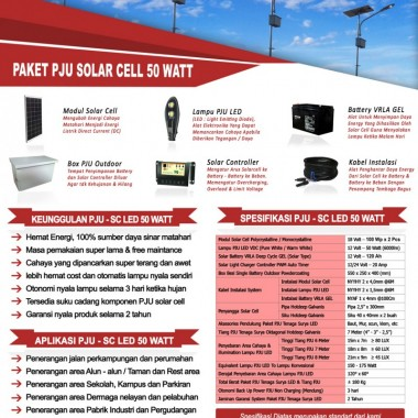 paket PJU solar cell 50 watt LED Surya Panel Indonesia