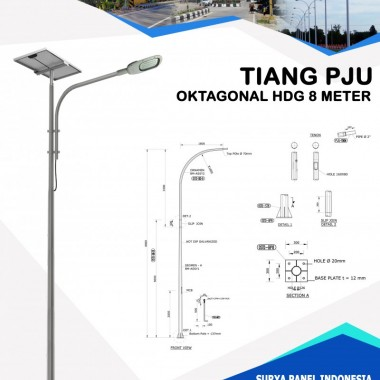Tiang PJU Oktagonal Hot Deep Galvanis 8 Meter Surya Panel Indonesia