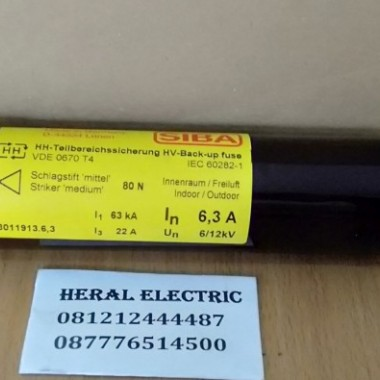 jual fuse siba 6,3A 6/12KV 3011913.6,3 HERAL ELECTRIC