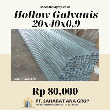 Hollow Galvanis 20x40x0.9