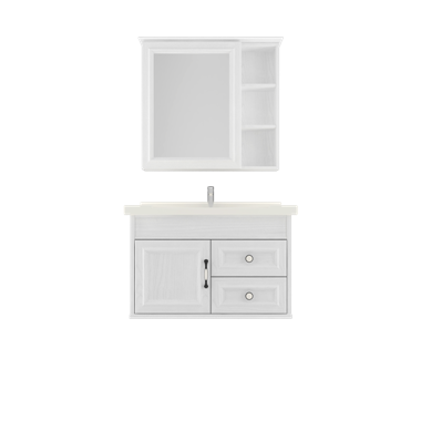 Shunda Cabinet PVC - Wall Mounted - White Woodgrain - G80B-0301