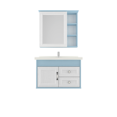 Shunda Cabinet PVC - Wall Mounted - Blue and White Woodgrain - G80B-0401