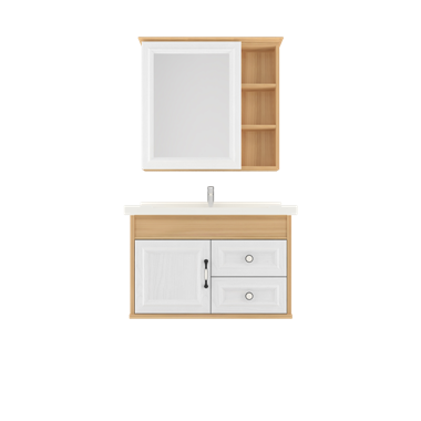 Shunda Cabinet PVC - Wall Mounted - Natural Maple and White Woodgrain - G80B-0601