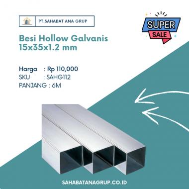 Besi Hollow Galvanis 15x35x1.2 mm