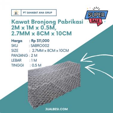 Kawat Bronjong Pabrikasi 2M x 1M x 0.5M, 2.7MM x 8CM x 10CM